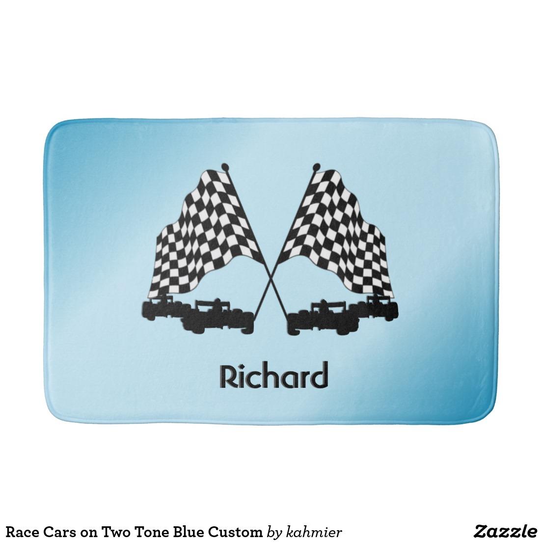 Race Cars on Two Tone Blue Custom Bathroom Mat