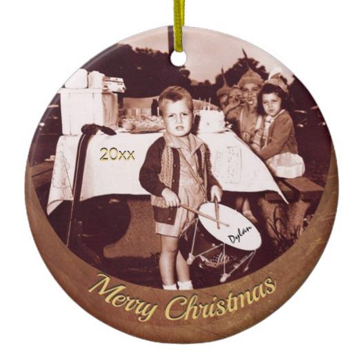 Vintage Photo Little Drummer Boy c 1930s Personal Ceramic Ornament