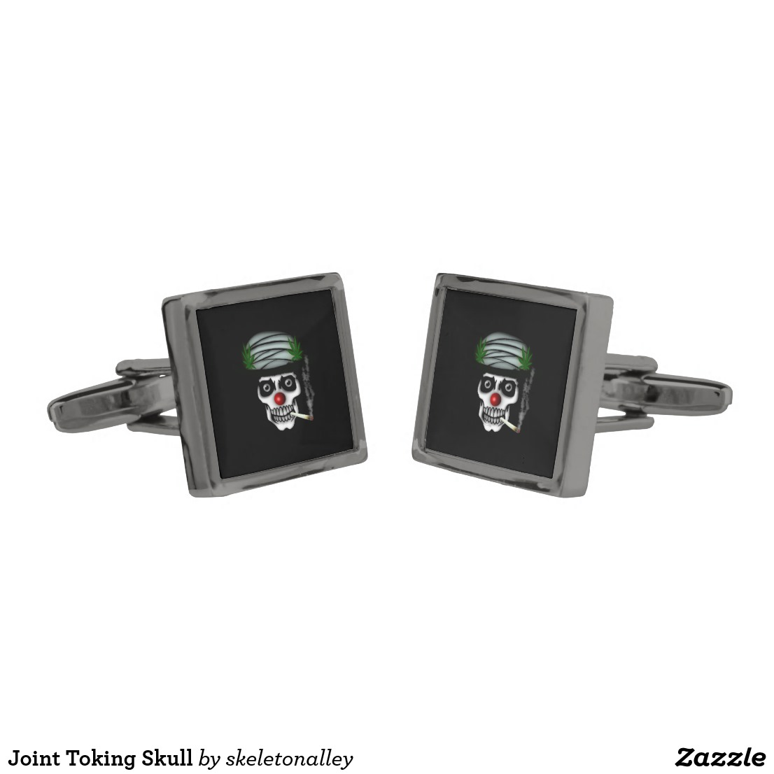 Joint Toking Skull Cufflinks