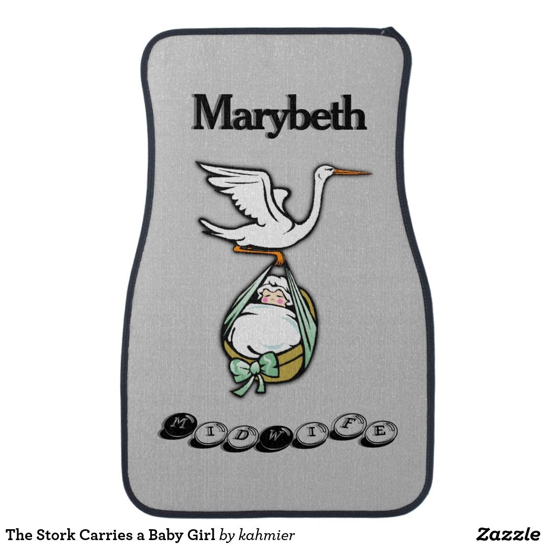 The Stork Carries a Baby Girl Car Mat