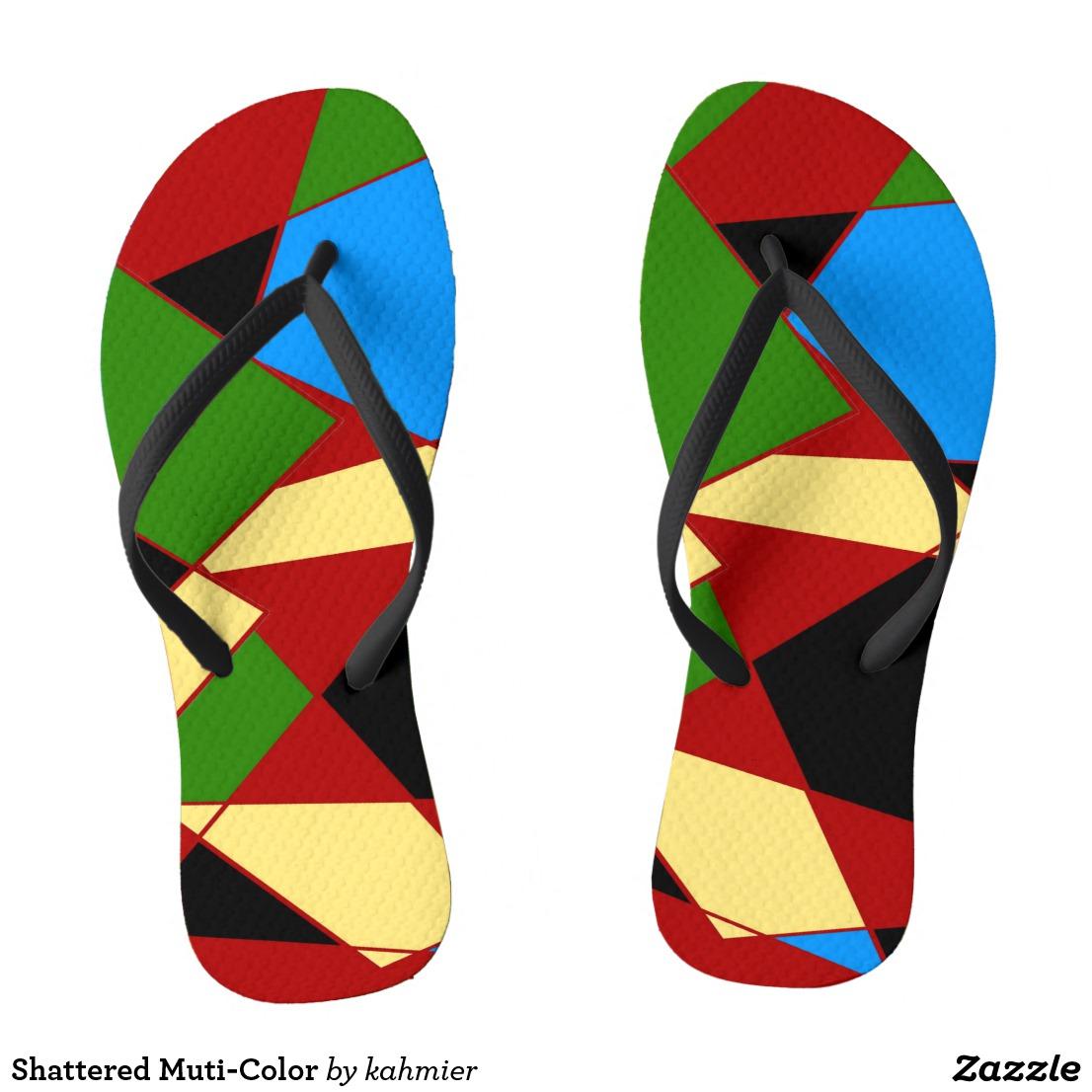 Shattered Muti-Color Flip Flops