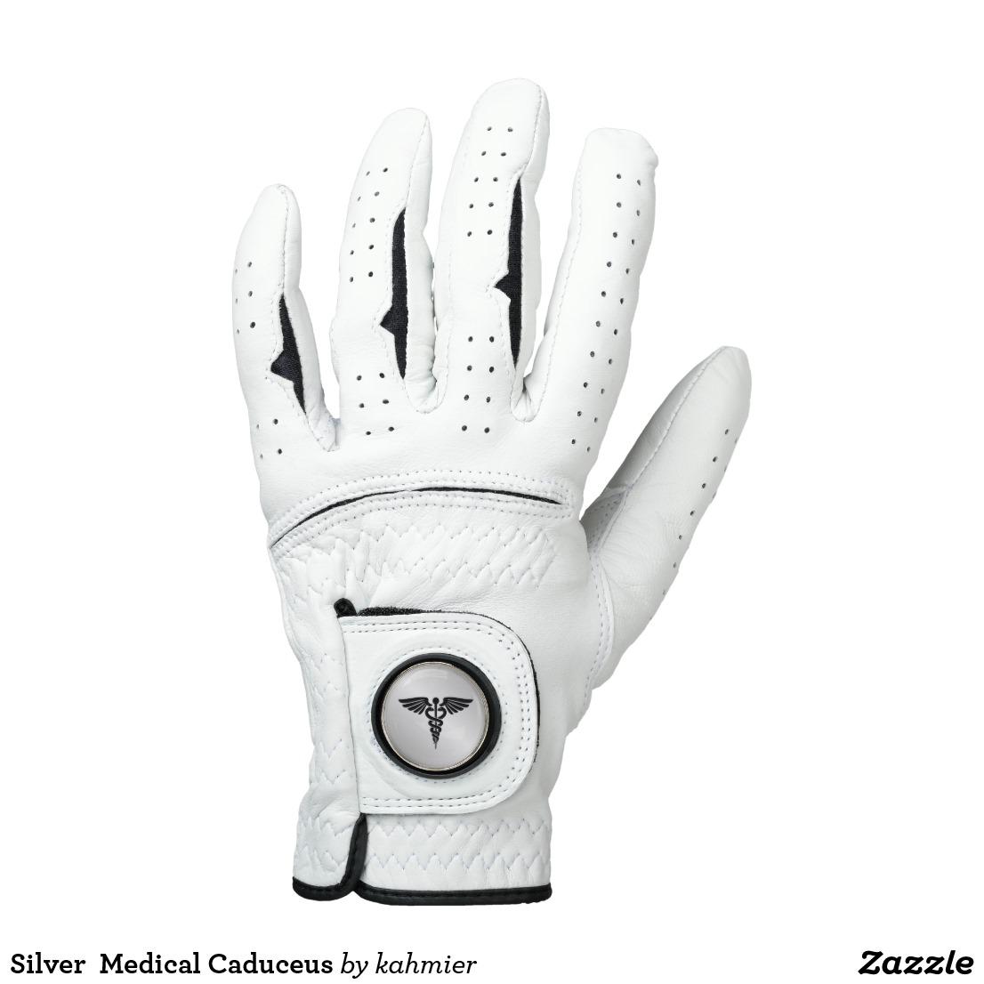 Silver Medical Caduceus Golf Glove