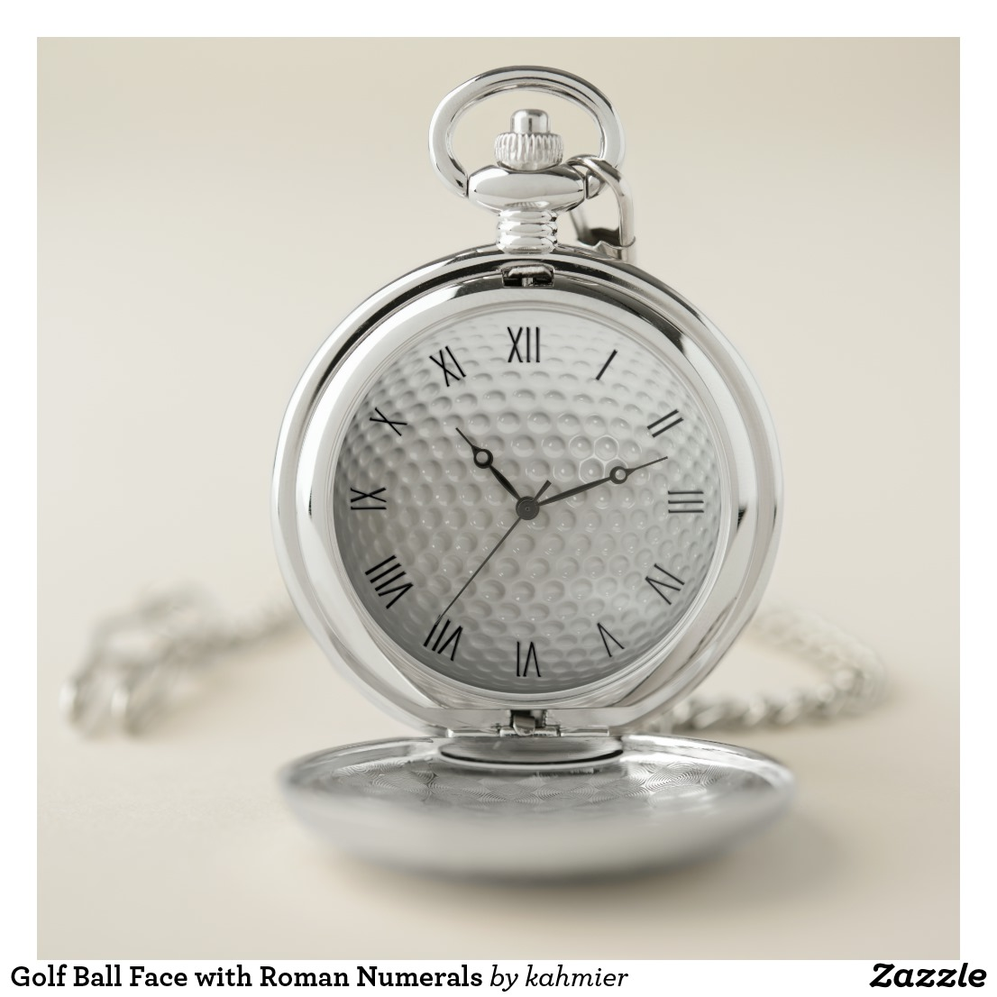 Golf Ball Face with Roman Numerals Pocket Watch
