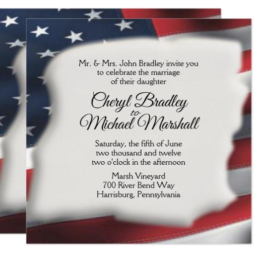 american flag splash wedding invitations home