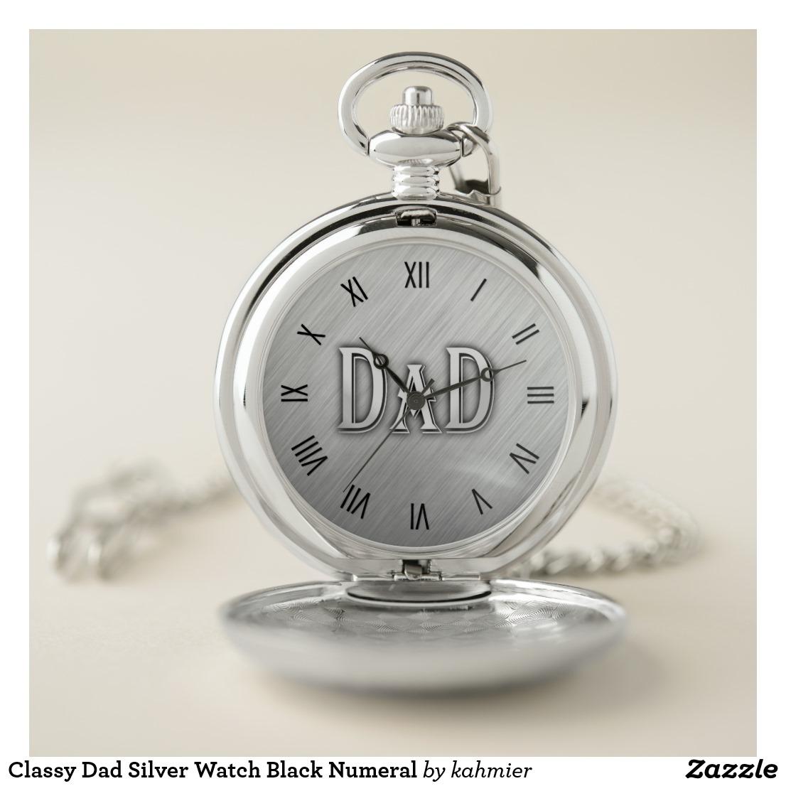 Classy Dad Silver Watch Black Numeral