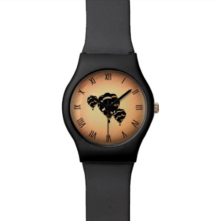Rustic Hot Air Balloons w Black Numerals Watch