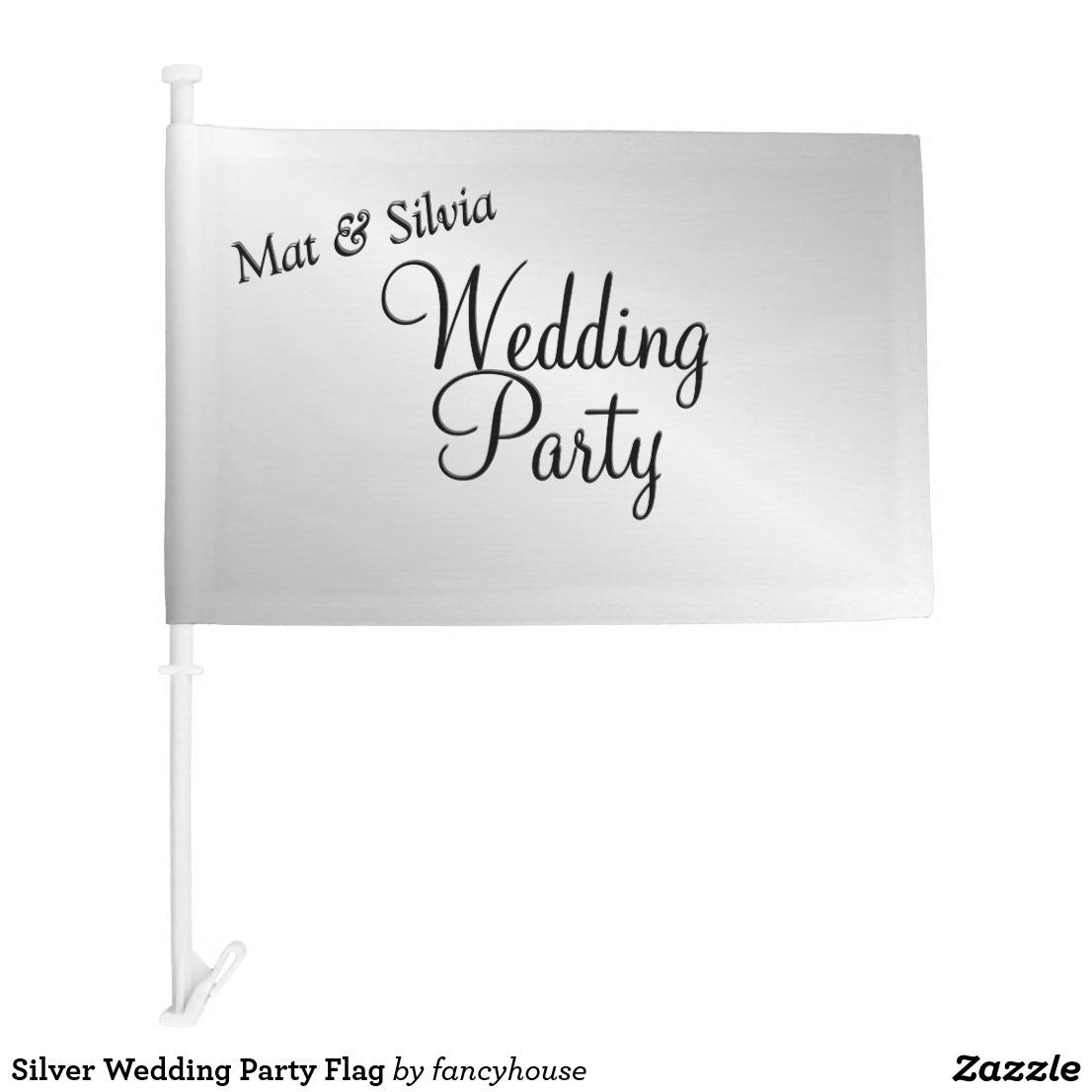 Silver Wedding Party Flag