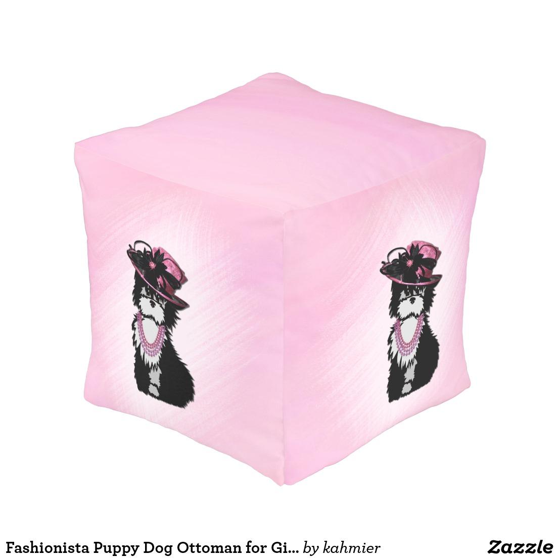 Fashionista Puppy Dog Ottoman for Girls Room