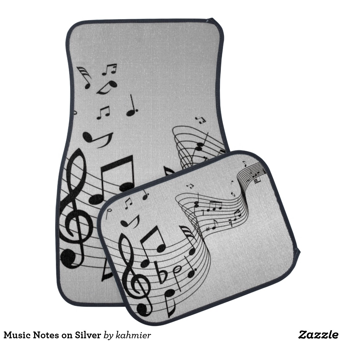 Music Notes on Silver Car Floor Mat