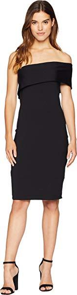 Susana Monaco Women's Adriana One Shoulder Fold-Over Dress Black X-Small