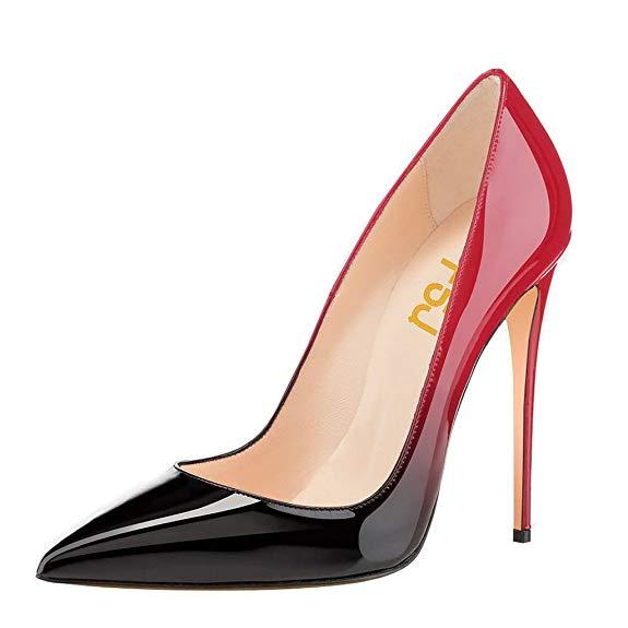 FSJ Women Fashion Pointed Toe Pumps High Heel Stilettos Sexy Slip On Dress Shoes Size 12 Black-Red