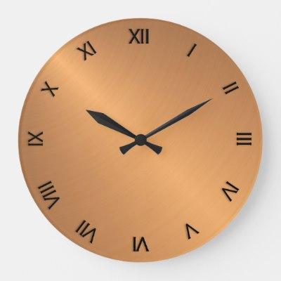 Copper Shine Black Roman Numerals Square Wall Clock