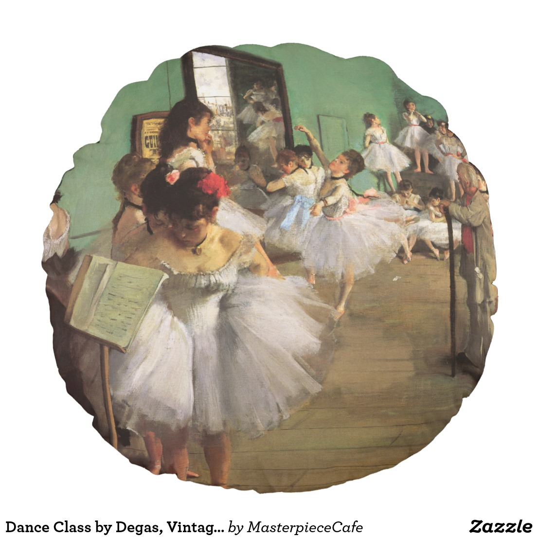 Dance Class by Degas, Vintage Impressionism Ballet Round Pillow