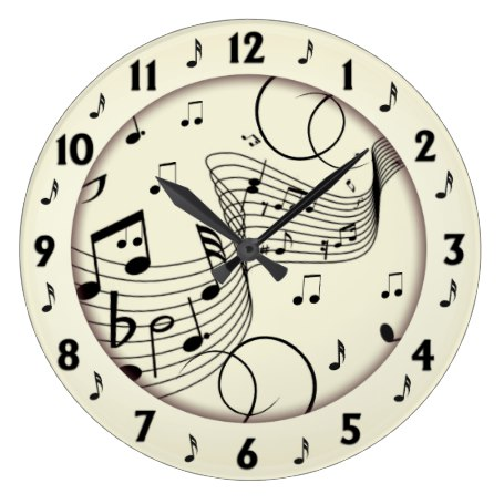Trendy Music Design Large Clock