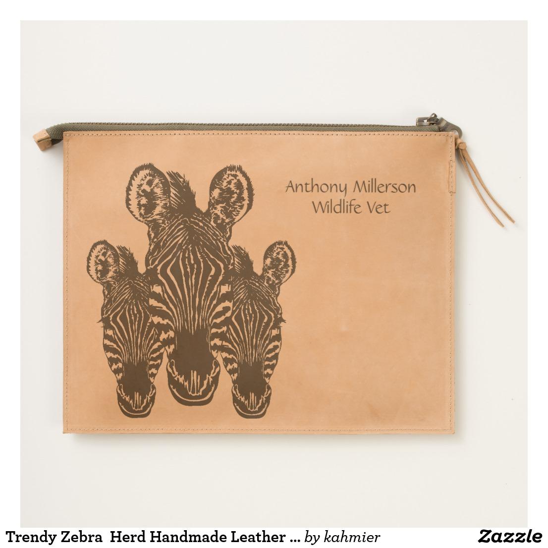 Trendy Zebra Herd Handmade Leather Personal Travel Pouch