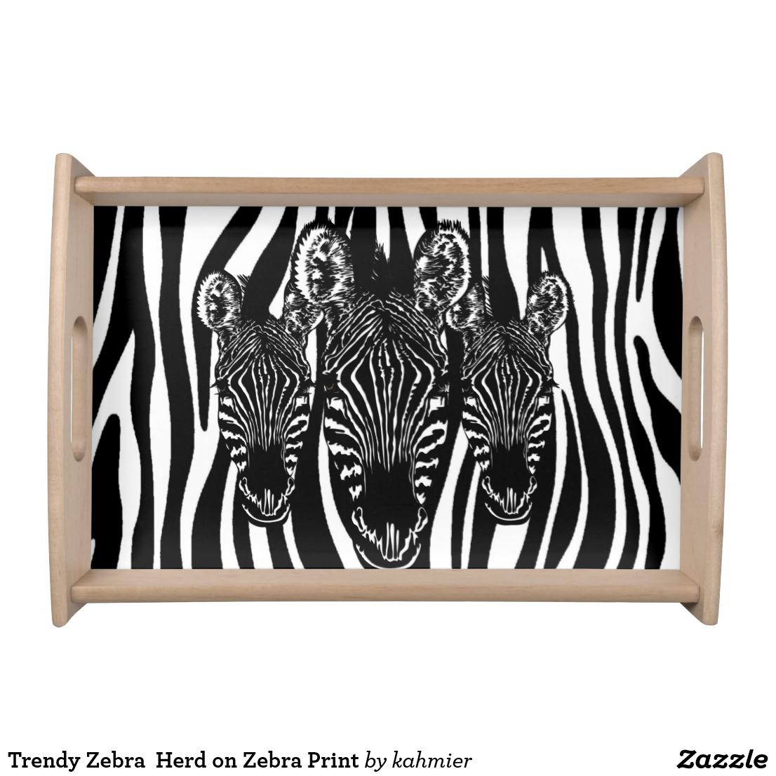 Trendy Zebra Herd on Zebra Print Serving Tray