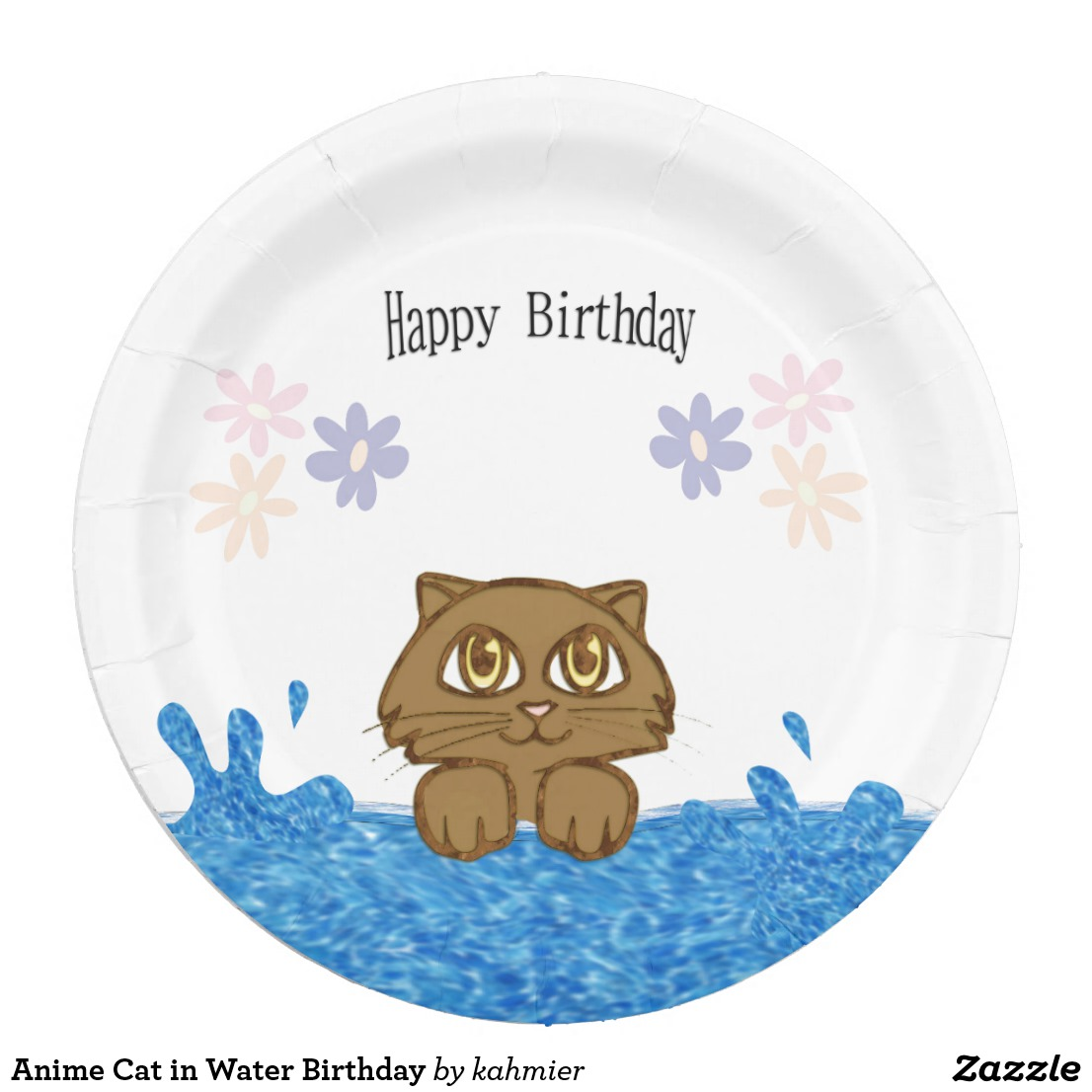 Anime Cat in Water Birthday Paper Plate