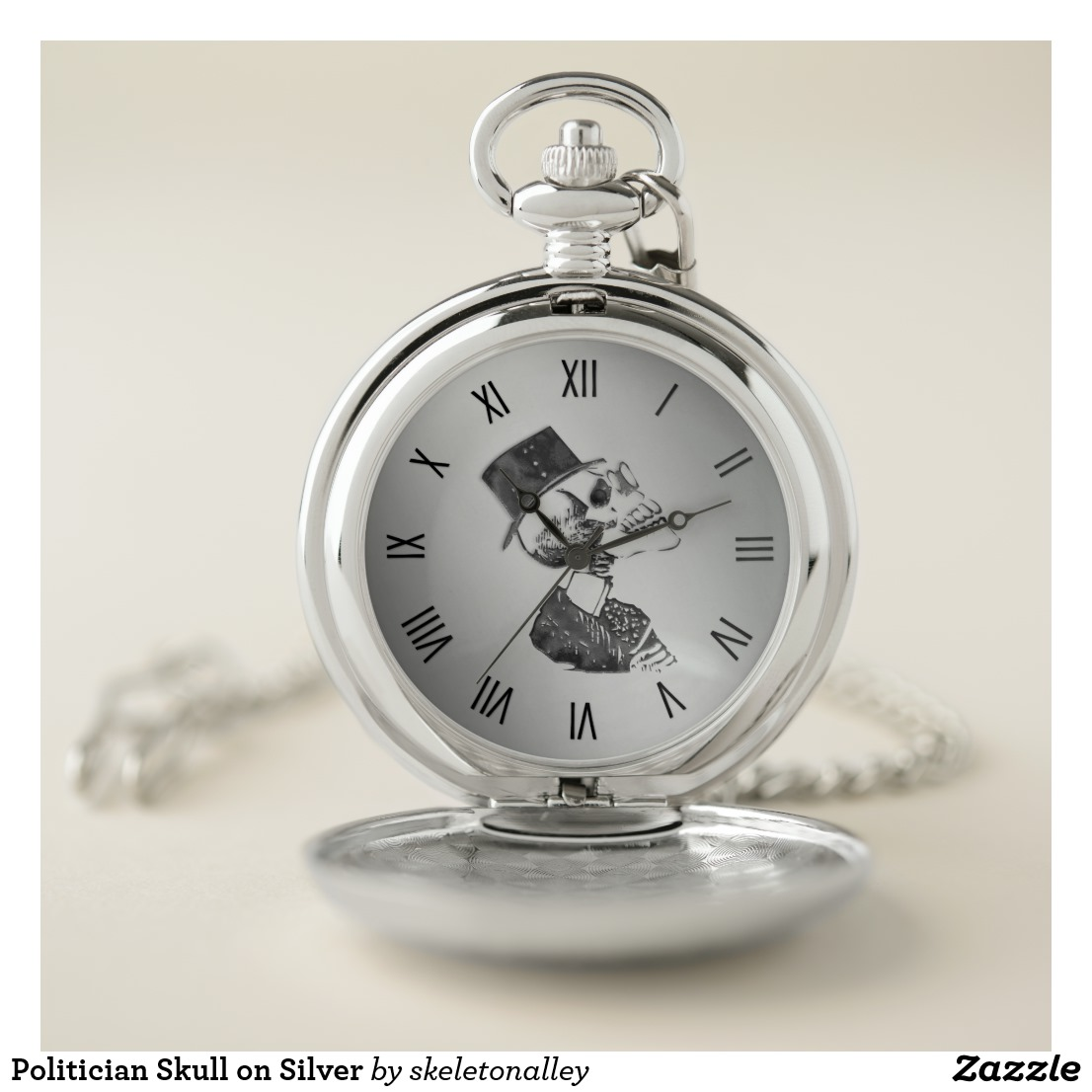 Politician Skull on Silver Pocket Watch
