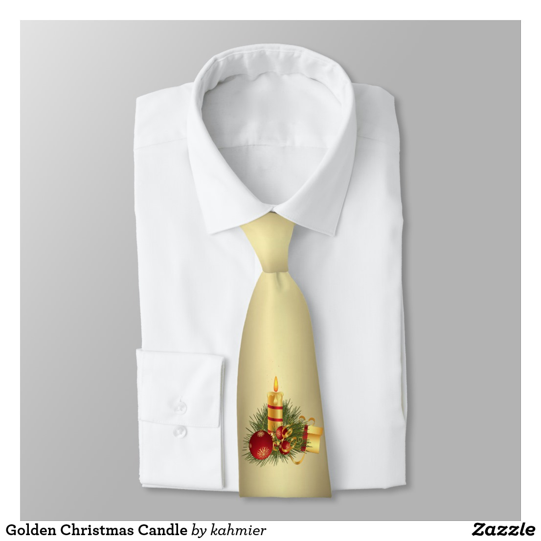 Golden Christmas Candle Tie