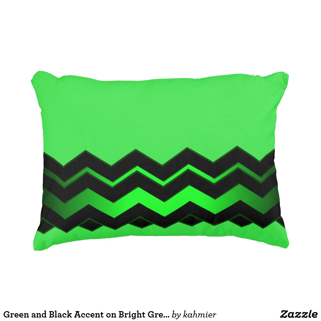 Green and Black Accent on Bright Green Accent Pillow