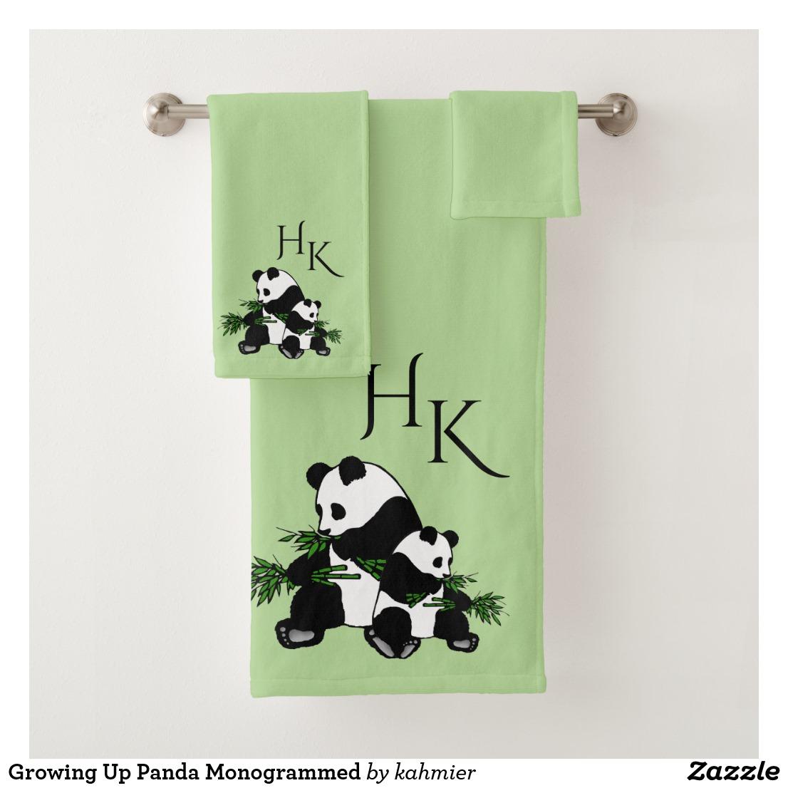 Growing Up Panda Monogrammed Bath Towel Set