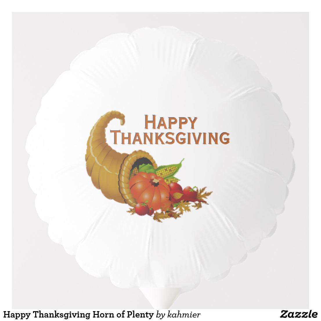 Happy Thanksgiving Horn of Plenty Balloon