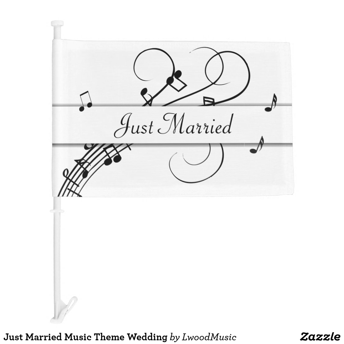 Just Married Music Theme Wedding Car Flag