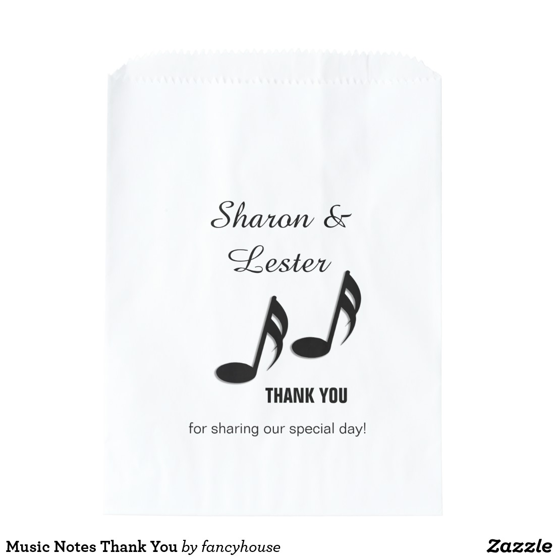 Music Notes Thank You Favor Bag