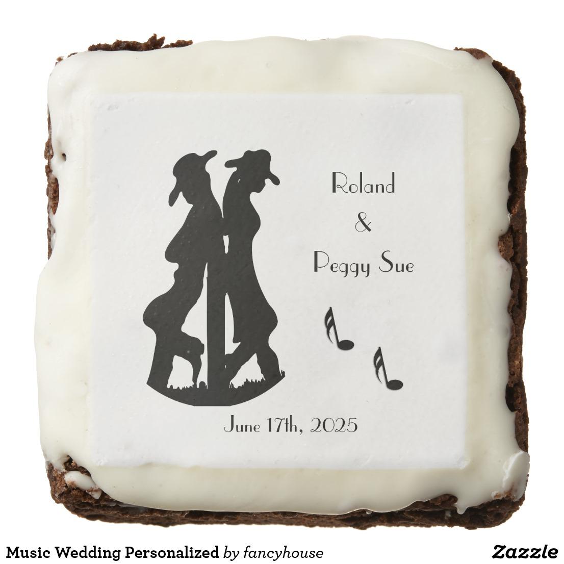 Music Wedding Personalized Chocolate Brownie