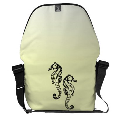 Seahorses Yellow Courier Bag