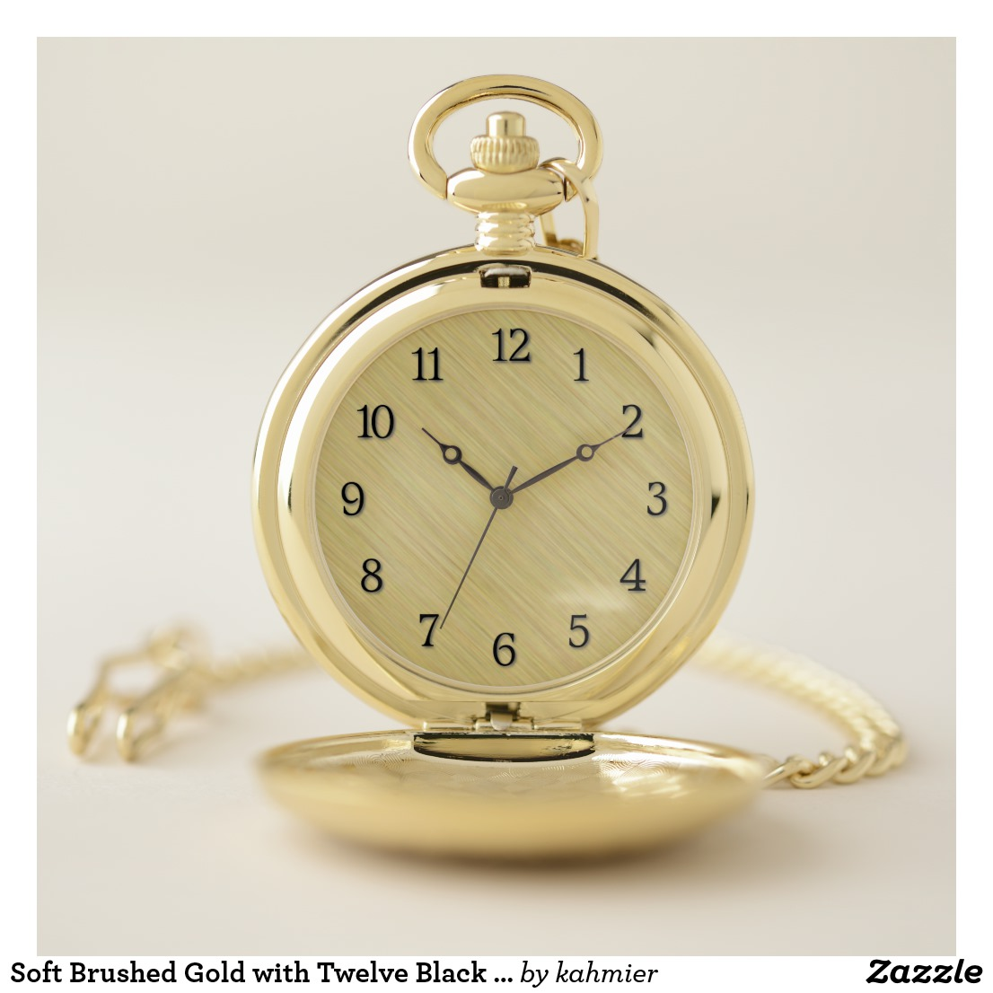 Soft Brushed Gold with Twelve Black Numbers Pocket Watch