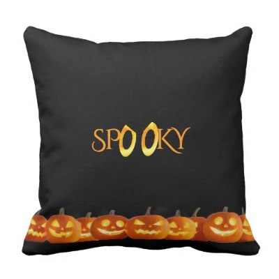 Spooky Eyes and Pumpkins Outdoor Pillow