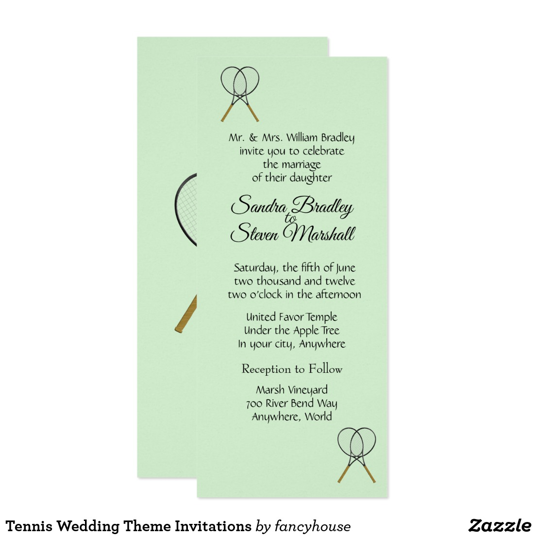 Tennis Wedding Theme Invitations