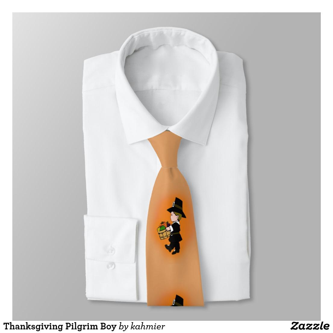 Thanksgiving Pilgrim Boy Neck Tie