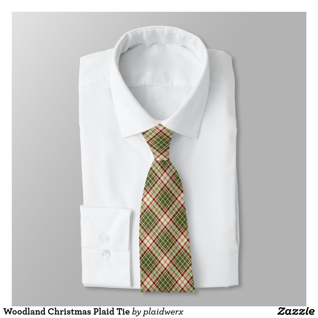 Woodland Christmas Plaid Tie
