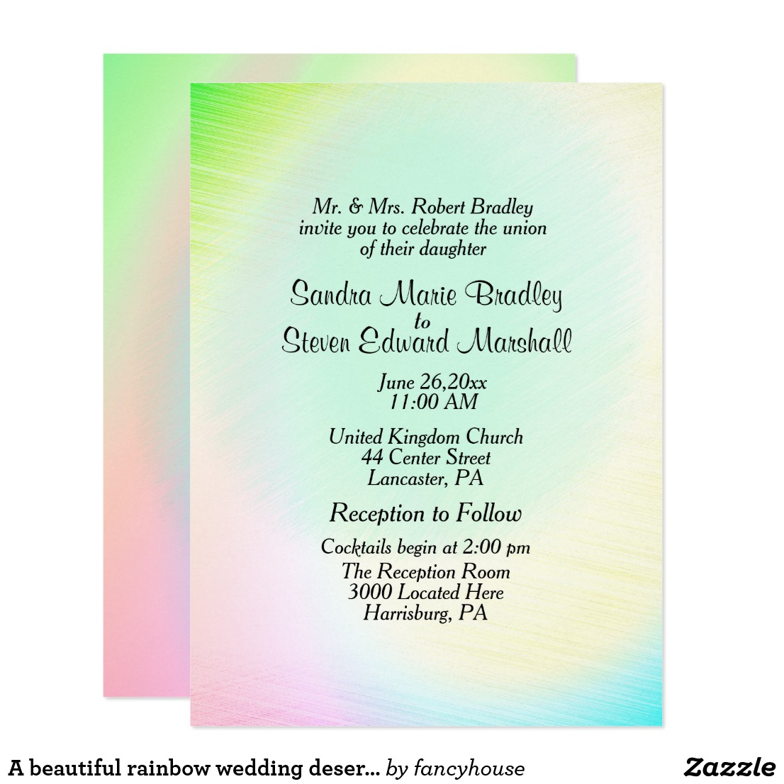 A beautiful rainbow wedding deserves these invitation