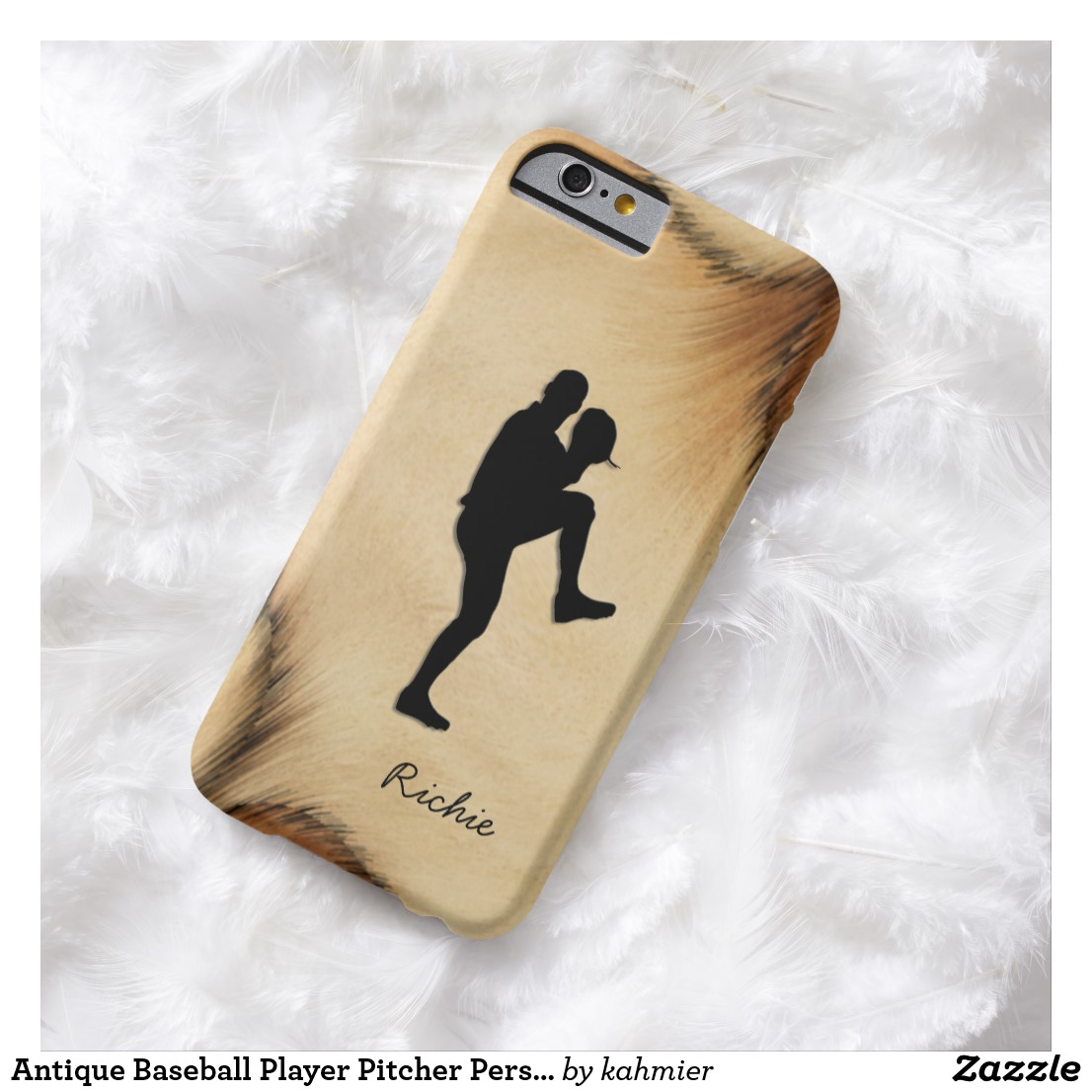 Antique Baseball Player Pitcher Personalized Barely There iPhone 6 Case