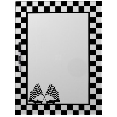 Checkered Flag Race Cara Dry Erase Board