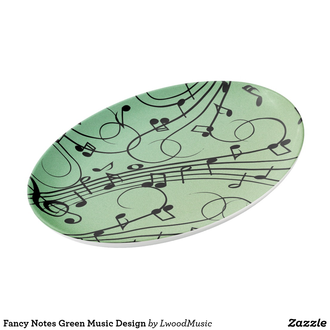 Fancy Notes Green Music Design Porcelain Serving Platter