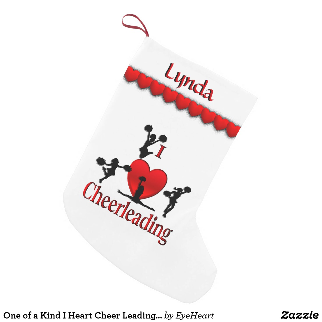 One of a Kind I Heart Cheer Leading Personalized Small Christmas Stocking