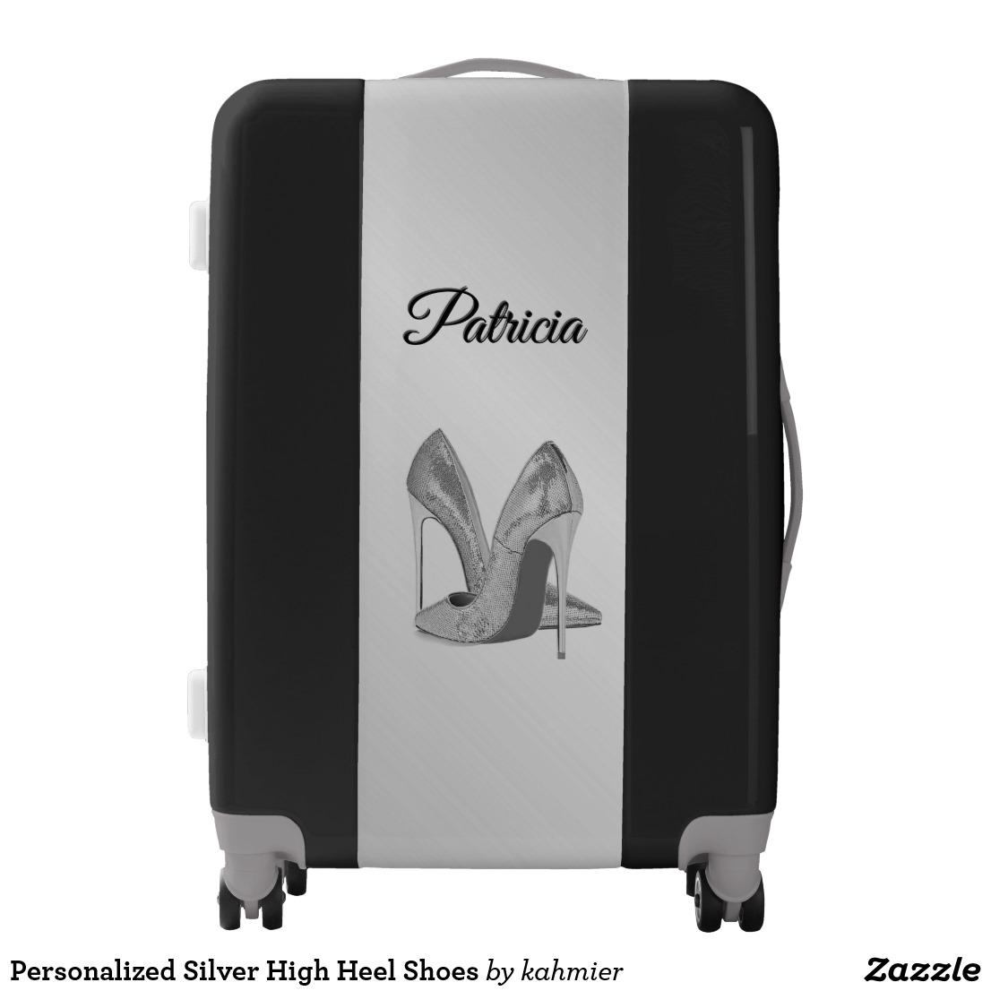 Personalized Silver High Heel Shoes Luggage