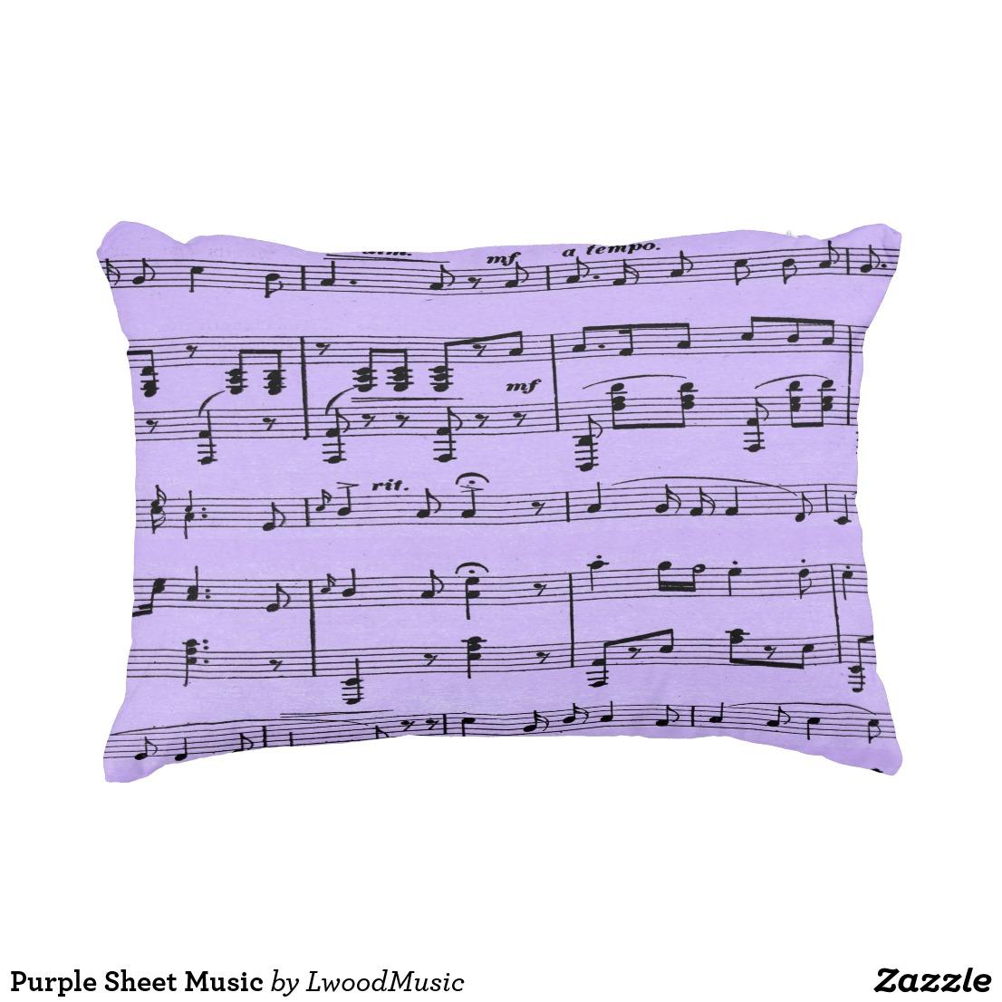 Purple Sheet Music Accent Pillow