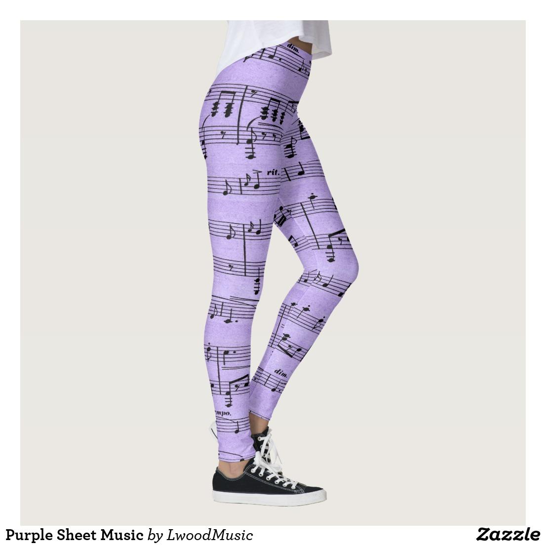 Purple Sheet Music Leggings