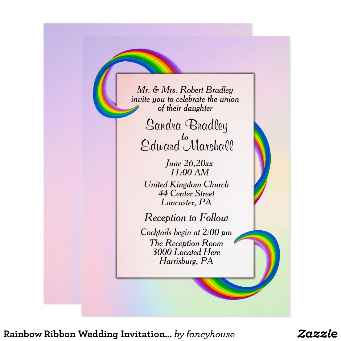 Rainbow Ribbon Wedding Invitation 6.5
