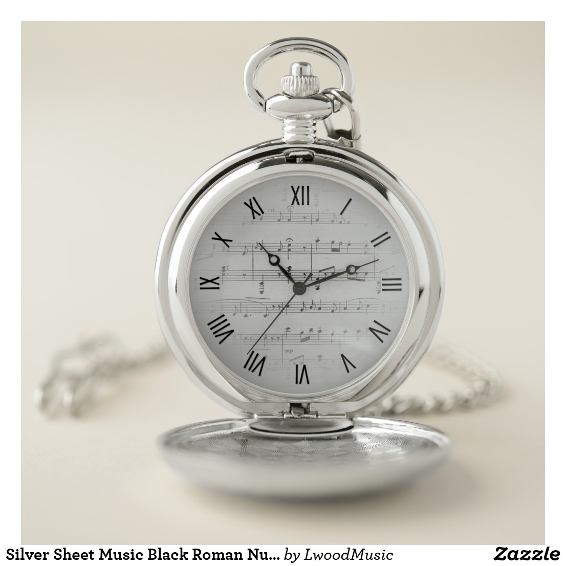 Silver Sheet Music Black Roman Numerals Pocket Watch