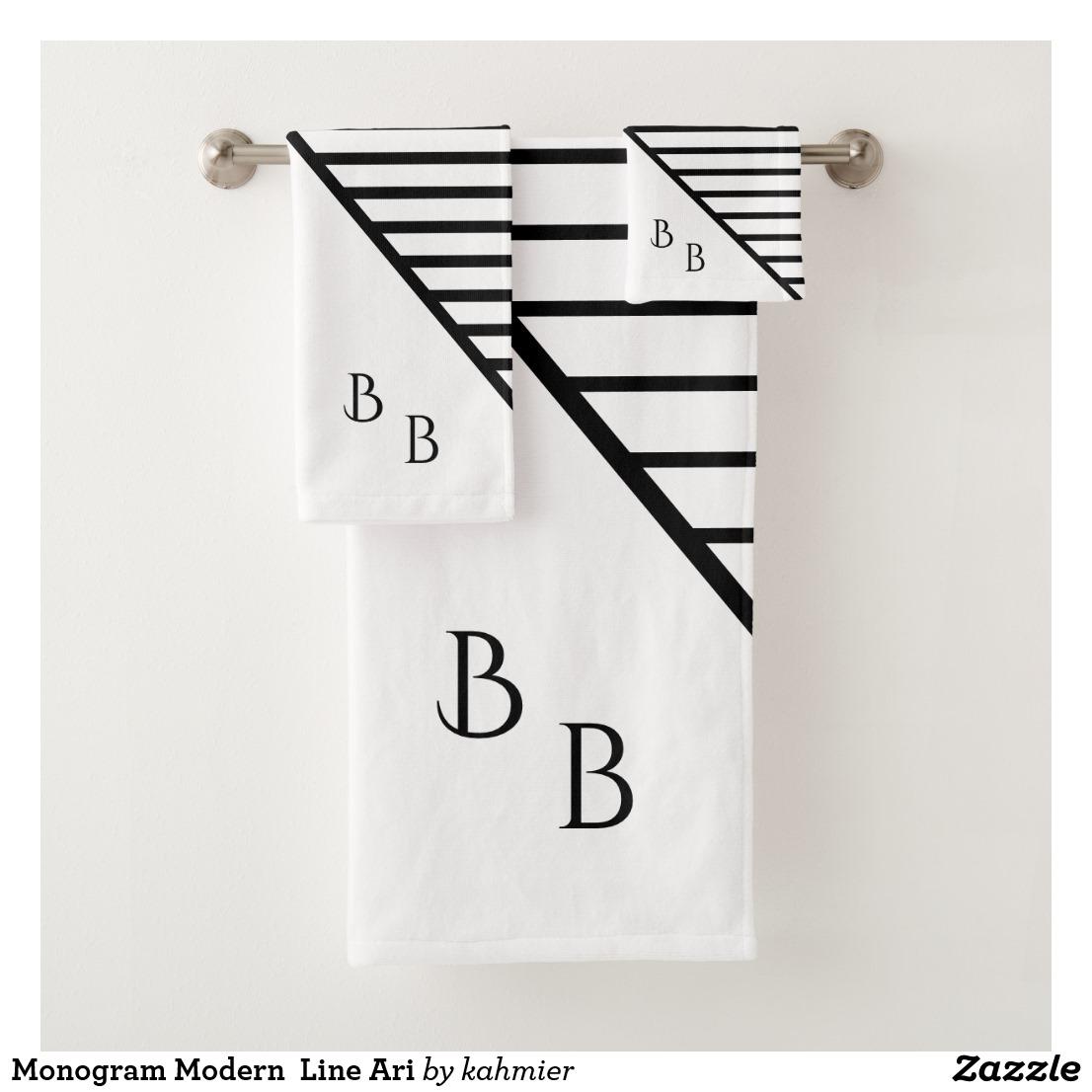 Monogram Modern Line Ari Bath Towel Set