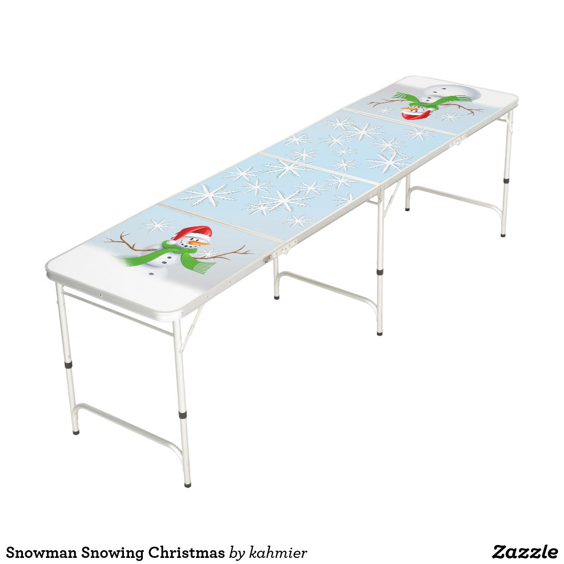 Snowman Snowing Christmas Beer Pong Table