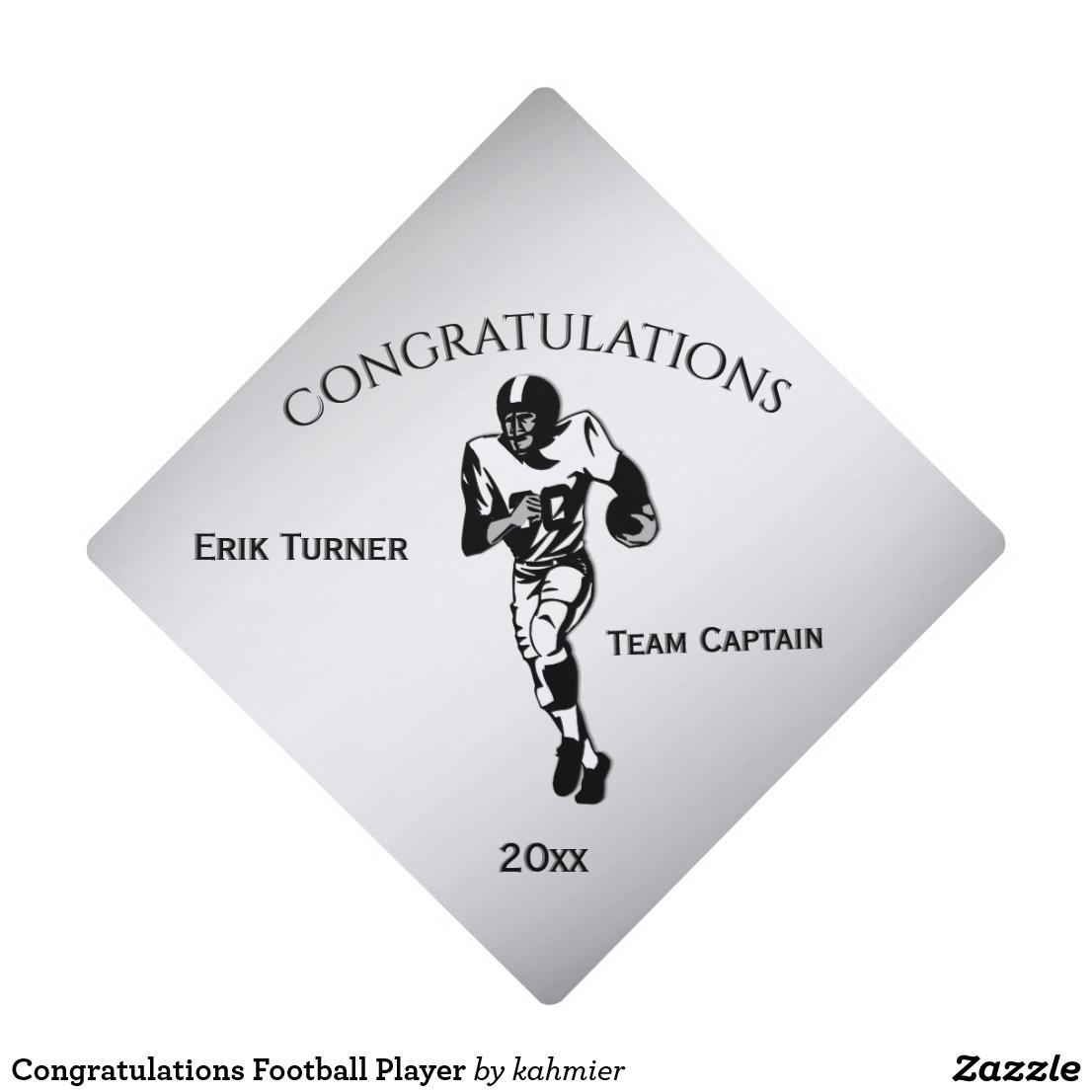 Congratulations Football Player Graduation Cap Topper