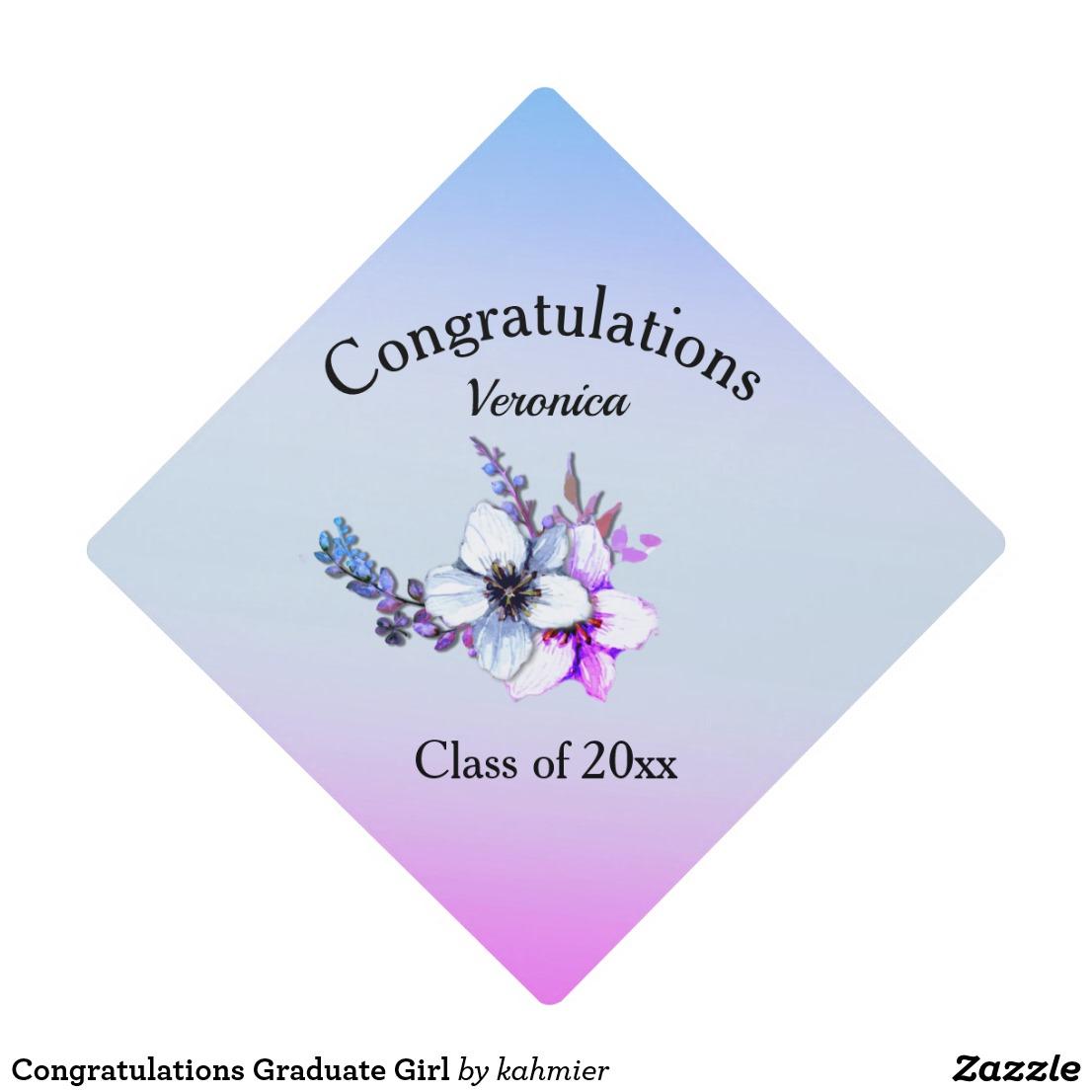 Congratulations Graduate Girl Graduation Cap Topper