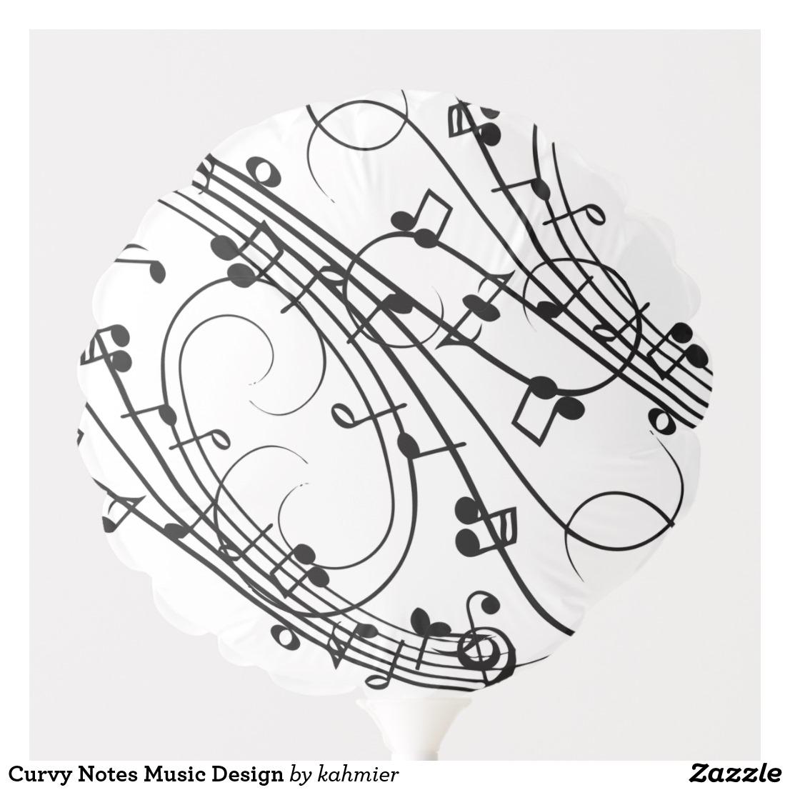Curvy Notes Music Design Balloon